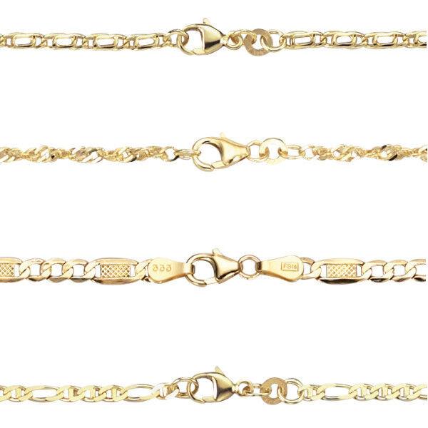 Frauen Fußkette Echt Gold 333 (8 Kt) Gelbgold Fusskette Verschiedene Modelle Neu