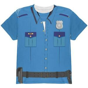 Halloween Patrol Blue Police Officer Costume All Over Youth T Shirt