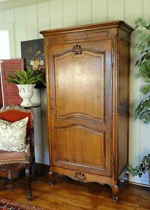 ... Antique French Country Armoire Tall Narrow Walnut Wardrobe