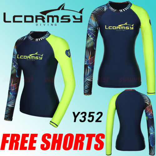 FREE SHORT WOMEN/'S RASH GUARDS LONG SLEEVE SURF WETSUITS SWIM TOP SHIRTS Y352P