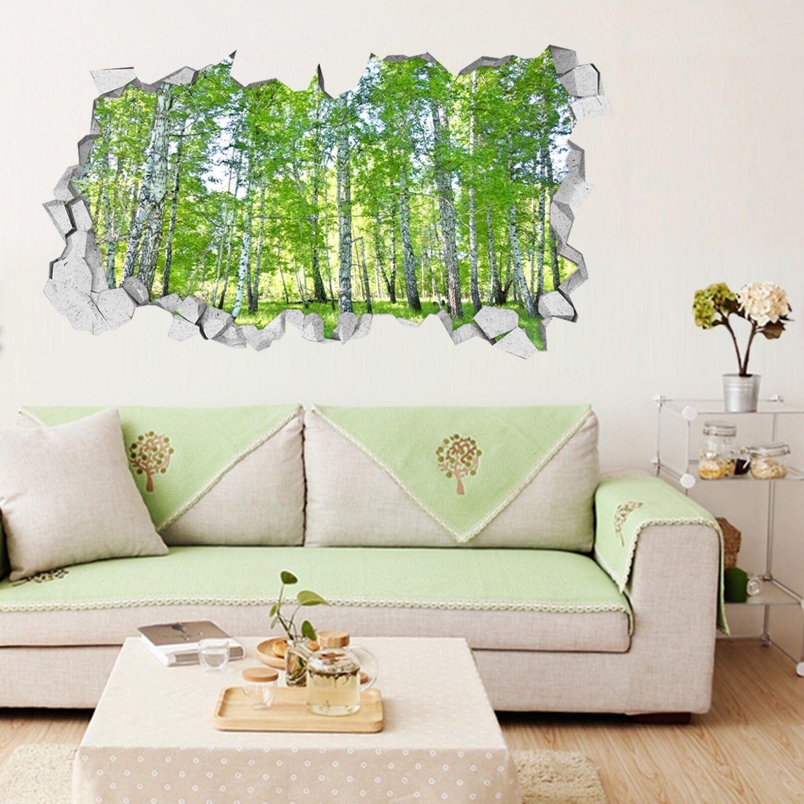3D greene Bäume 050 Mauer Murals Mauer Aufklebe Decal Durchbruch AJ WALLPAPER DE