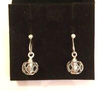Pandora Silver Dangle Earrings Brand In Pandora Gift Box