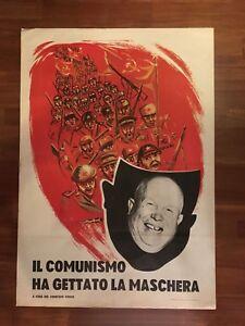 manifesto,POSTER 1964 IL COMUNISMO HA GETTATO LA MASCHERA Nikita Kruscev POLITIC - Italia - manifesto,POSTER 1964 IL COMUNISMO HA GETTATO LA MASCHERA Nikita Kruscev POLITIC - Italia
