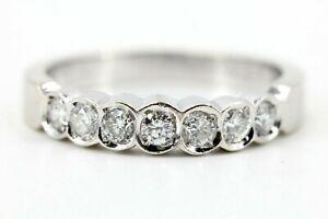Halb-Memory-Ring-Diamant-Gold-585-14K-Weissgold-7-Brillanten-0-50ct-Si1-H-Gr-57
