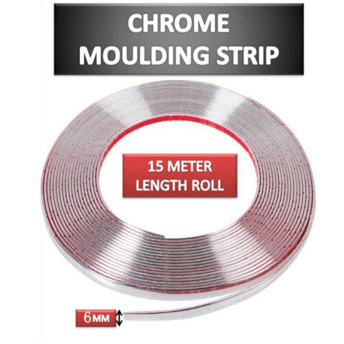15m*6mm Silver Chrome Car Tuning Moulding Strip Trim Self Adhesive Tape xza