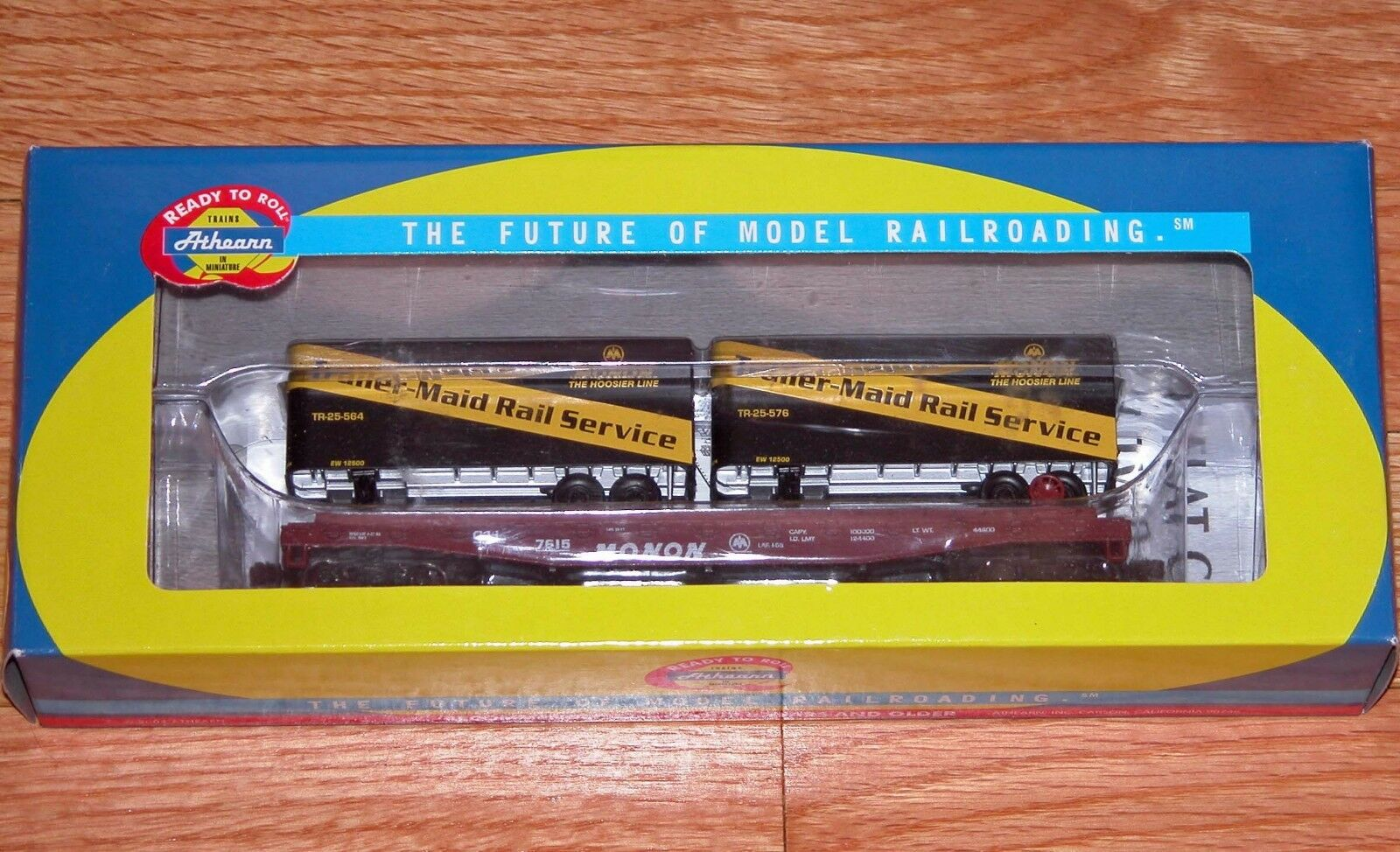 ATHEARN 92382 50' FLAT WITH TWO 25' TRAILERS MAID RAIL SERVICE MONON CIL 7615