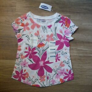 Old-Navy-Pink-Flowers-Top-tee-shirt-size-18-24-months-Girls-short-sleeve-NEW