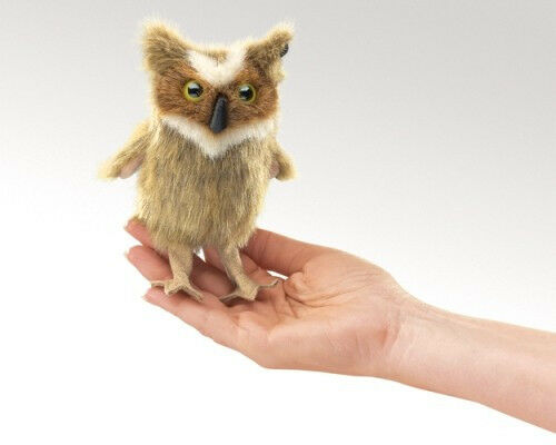 Mini GREAT OWL HORNED Finger Puppet  # 2752 ~ FREE SHIP/USA ~ Folkmanis Puppets