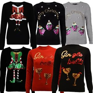 56b8090d56b Details about Ladies Womens Novelty Christmas Sparkly Sequin Thin Top  Jumper Gin Santa Elf