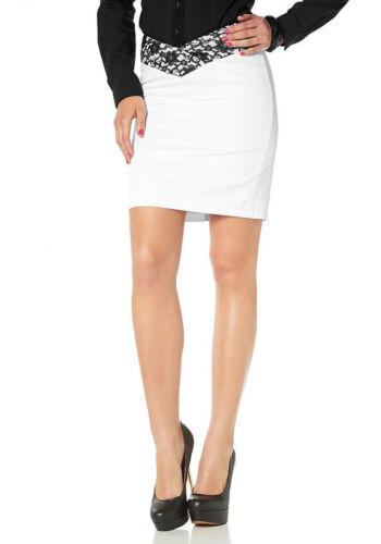 Melrose jupe fendue-Skirt Crayon Mini Dentelle Blanc T 32 /& 34