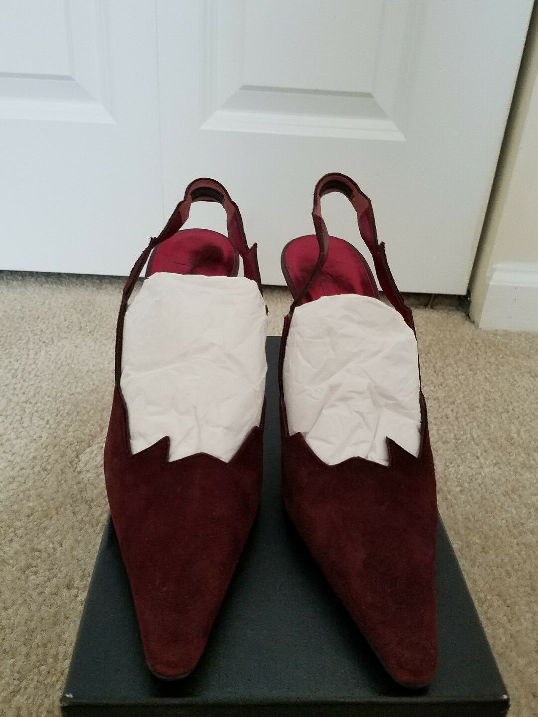 Giuseppe Zanotti VICINI Burgundy Suede Leather Sling Back Pumps IT38 US7.5