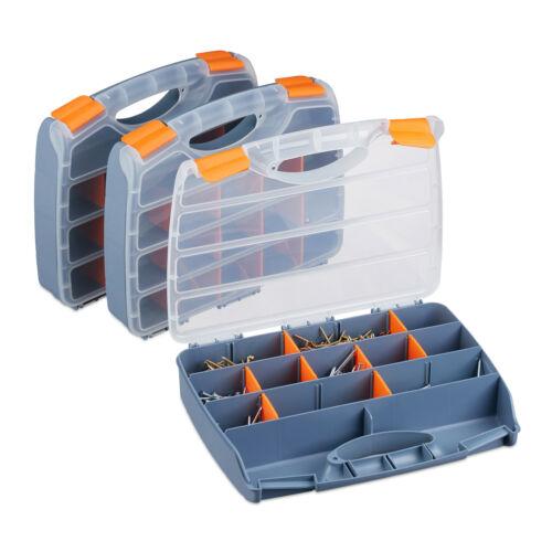 Sortierbox 3er Set Werkzeugkasten Griff Sortimentskasten Kleinteilebox Werkzeug