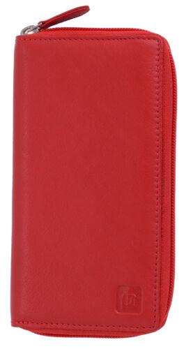 Ladies Large Super Soft Genuine Leather Zip Round RFID Blocking Purse Wallet