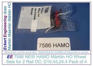 EE-7586-NEW-HAMO-Marklin-HO-Wheel-Sets-for-2-Rail-DC-D10-4-L24-4-Pk-4-aka-70058
