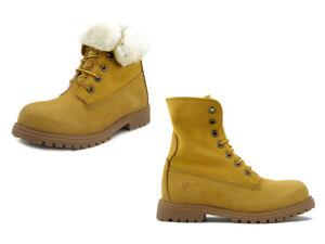 sports shoes 5b214 bf76c Dettagli su Anfibi Scarponcini Donna Gialli in Pelle Nabuk, Fodera in Lana,  Lumberjack RIVER