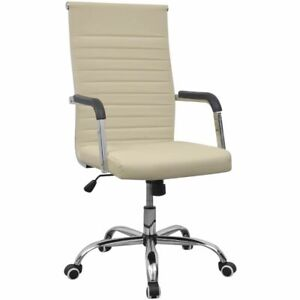 vidaXL Chaise fauteuil siège de bureau en cuir artificiel avec roulettes crème