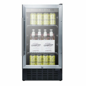 """Summit SCR1841BADA 18"""" One Section Beverage Center with Glass Door, 2.7 cu.ft"""