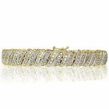 18K Gold Plated Brass 1.00ct TDW Natural Diamond Tennis Bracelet