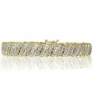 18K-Gold-Plated-Brass-1-00ct-TDW-Natural-Diamond-Tennis-Bracelet