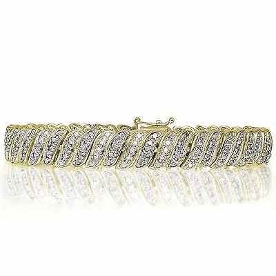 18K Gold Plated Brass 1.00ct TDW Natural Diamond Tennis Bracelet
