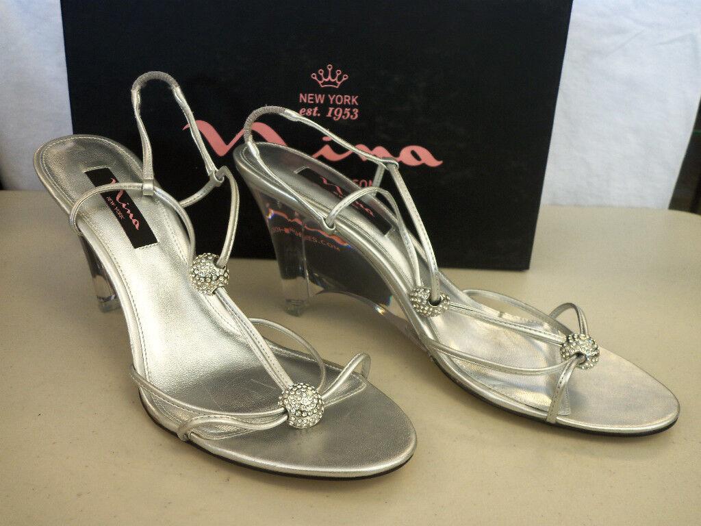 Nina NEU Damenschuhe Gamma YL Silver Laminato Wedge Heels 6.5 M Schuhes