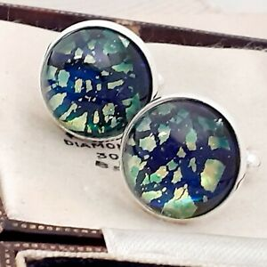 Vintage-Blue-Green-Fire-Glass-Opal-Large-Round-Silvertone-Cufflinks