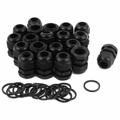 Tnisesm// 20 Packs PG13.5 Cable Glands 6.8-12mm Cable Connectors Plastic Nylon Wire Protectors Joints Waterproof Adjustable Black with Gaskets PG13.5-BK