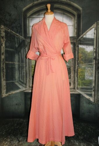 Vintage 1940s Maxan Dress Robe Night House Coat Pe
