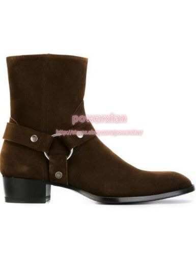 Punk Mens Rock Real Leather Suede Ankle Boots Fashion Chelsea Cowboy Boots 37-47