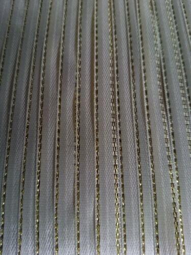 5M 6mm Thin Cream Gold Edged Satin Ribbon Trim Card Making Scrapbooking Christma