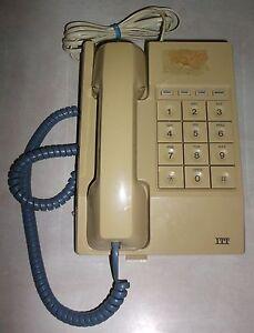 Vintage ITT Home Phone Telephone Corded Hangs Push Big Button Movie Prop Works