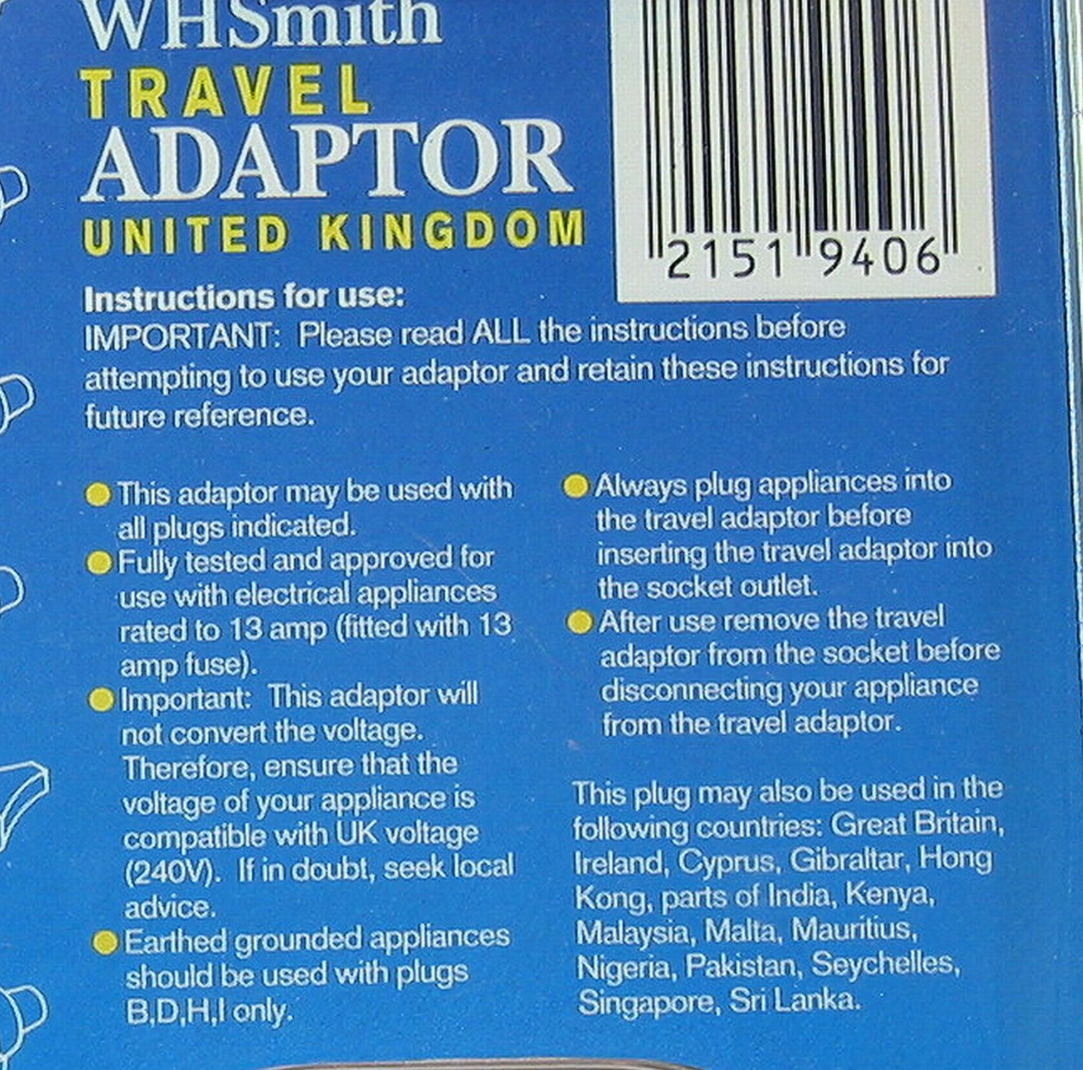 WH Smith Travel Adapter for Europe to UK Electricity