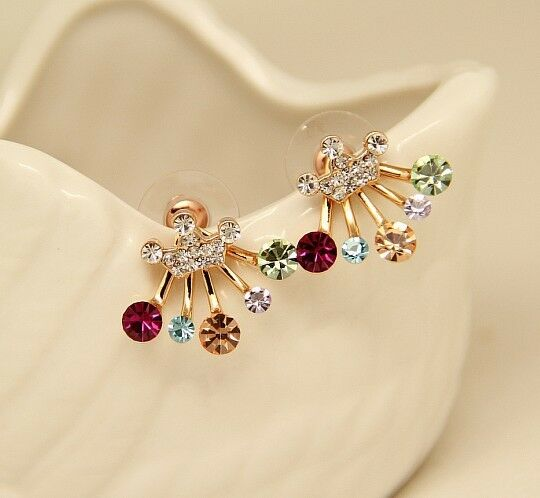 Fashion Women Crystal Rhinestone Flower Crown Earrings Ear Studs Jewelry Gift
