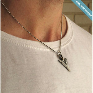 Mens silver necklace triangle arrow head pendant mens jewelry image is loading men 039 s silver necklace triangle arrow head aloadofball Choice Image
