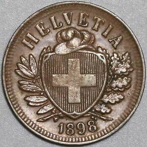 1898 Switzerland 2 Rappen AU Swiss Key Date Coin (20080201C)