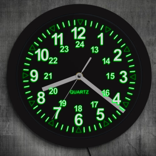 Military Pattern Retro Wall Clock with LED Backlight 24 Hours Display Zulu Time