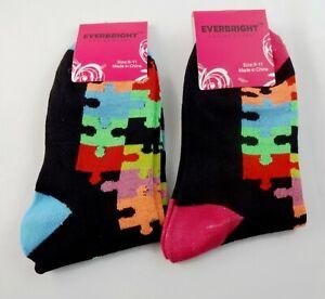 8bbee320aa53 Ladies Puzzle Piece Socks Black 2 Pairs Autism Awareness Crew Length ...