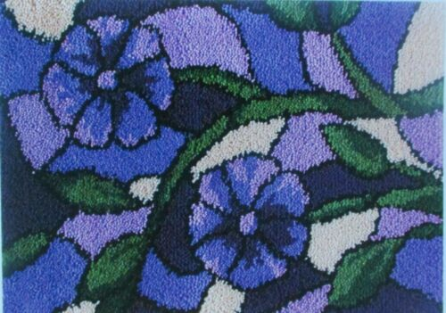 """LATCH HOOK RUG  KIT  /"""" STAINED GLASS RUG/"""" Floral design by Mary Maxim"""