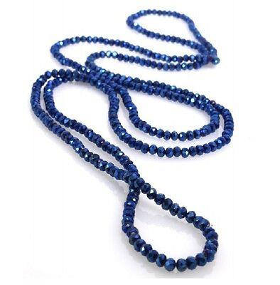 Collana di Cristalli 4mm elastica o Bracciale tanti giri da Donna Blu Petrolio