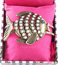 BETSEY JOHNSON Sea Fish Crystals Brass-Tone Hinged Cuff Bracelet w/Gift Box