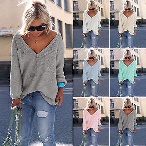 Damen-Langarm-Strick-Bluse-Pullover-V-Ausschnitt-Sweater-Jumper-Tops-Sweatshirt