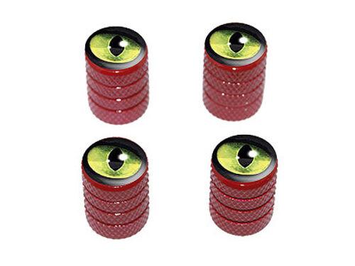 Cat Green Eye Tire Rim Valve Stem Caps Red