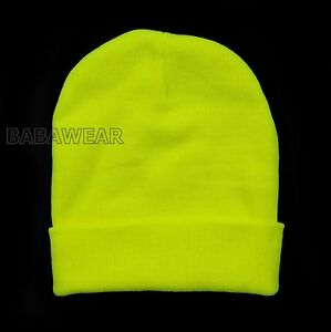 HIGH VISIBILITY BEANIE SAFETY GREEN ORANGE BRIGHT CAP HAT  e20ca105461