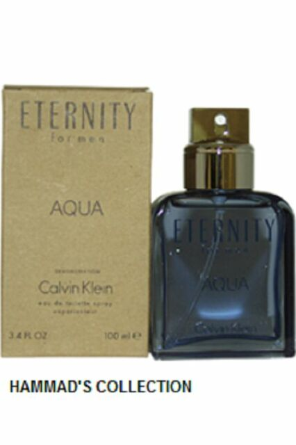 ETERNITY AQUA BY CALVIN KLEIN MEN 3.4 OZ  EDT SPRAY NO CAP (NEW IN TESTER BOX)