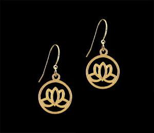 Ckstella Gold Lotus Flower Gp Pewter Dangle 14k Gold Gf Ear Wire