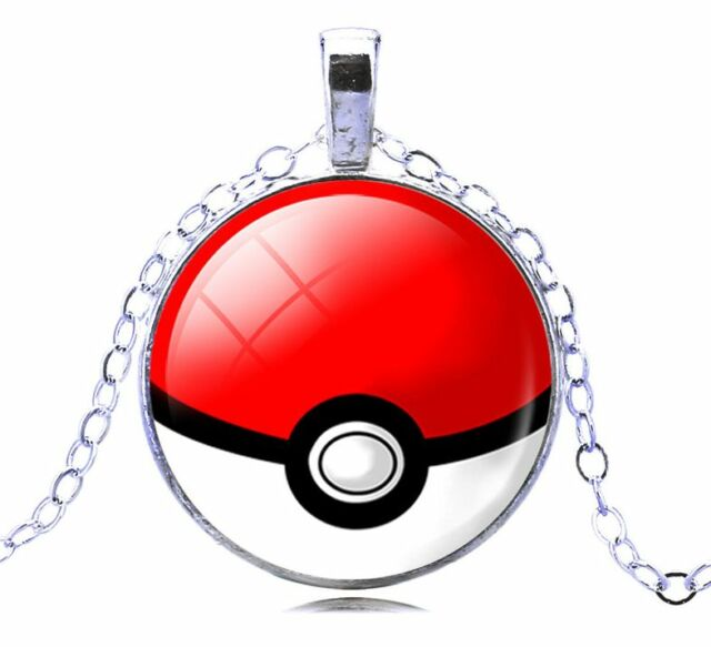 Pokemon Go Red Glass White Gold GP Classic Pokeball Necklace N124
