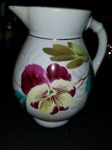 Vintage-A-amp-M-EMPIRE-Pottery-Ironstone-China-Pansy-Pattern-Pitcher-7-034-tall