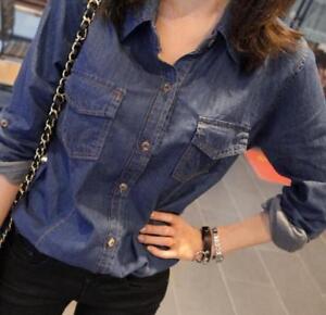 Retro-Women-039-s-Vintage-Long-Sleeve-Slim-Blue-Jean-Denim-Shirt-Lady-Tops-Blouse
