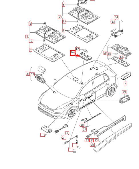 Volkswagen Golf Gti Mk7 2013 2017 Interior Light 5f0947109c