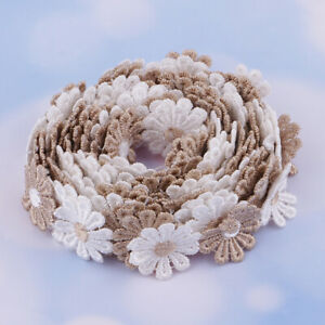 3Yds-Coffee-Flowers-Lace-Trim-Crochet-Ribbons-Sewing-Dressmaking-Edging-25mm